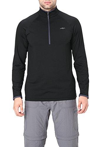 (Trailside Supply Co. Men's Half-Zip Long Sleeve Shirt Running Top Large Black)