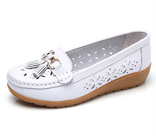 (Women Loafers Leather Oxford Slip On Walking Flats Anti-Skid Boat Shoes (7 M US, W-White))
