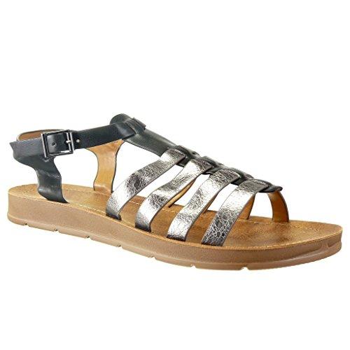 Angkorly - Chaussure Mode Sandale spartiates femme peau de serpent lanière multi-bride Talon compensé 2 CM - Noir