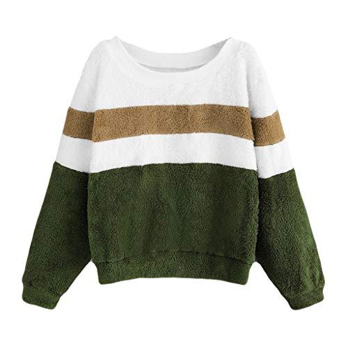 al Stitching Contrast Color Long Sleeve Pullover Casual Sports Lamb Plush Sweatshirt ()