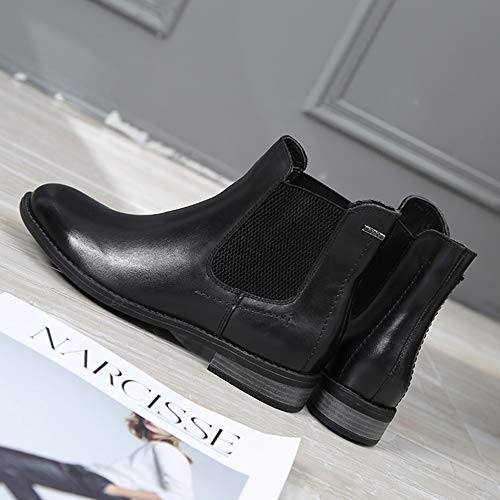Bottines Bottes pour Décontractées Femmes Real Rétro Leather Travail Elasticité Chaussures Bottes Black Chelsea Martin De Bottes Classique f1BWnC