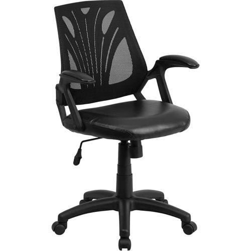 Parkside Mid-Back Black Mesh Swivel Task Chair with Leather Padded Seat