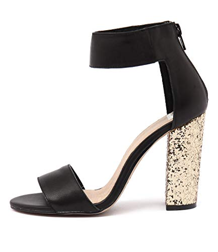 GOLD Sandals GLITTER Heels Shoes HEEL MOLLINI BLACK High LEATHER Manse Womens wqOnAa0