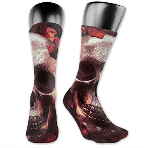 Unisex Performance Cushion Crew Socks Tube Socks Rose Petal Skull New Middle High Socks Sport Gym Socks -