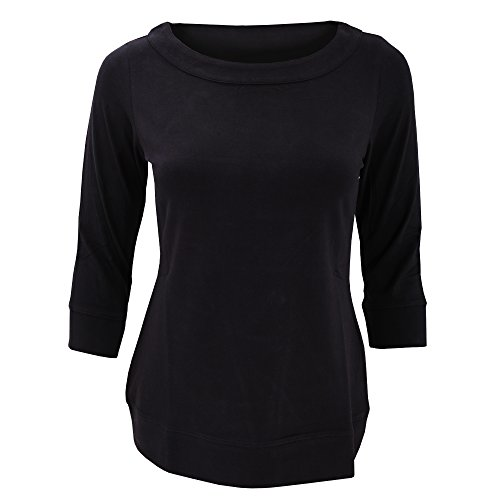 Russell Collection Ladies- Top elástico para chica con manga 3/4 Negro