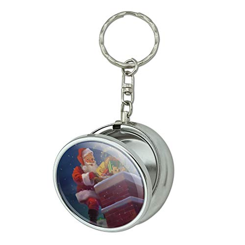 (GRAPHICS & MORE Christmas Holiday Santa Going Down The Chimney Portable Travel Size Pocket Purse Ashtray Keychain with Cigarette Holder)