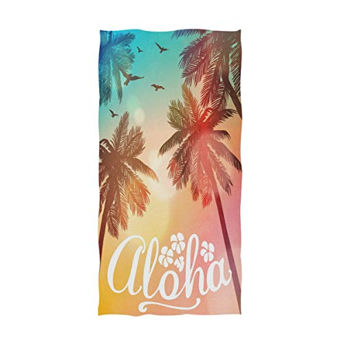 Naanle Beautiful Tropical Summer Beach Palm Tree Aloha Print Soft Absorbent Guest Hand Towels for Bathroom, Hotel, Gym and Spa (16 x 30 Inches) ()