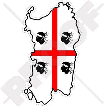 SARDINIA Sardinian Map-Flag ITALY Sardegna Italian 4.3