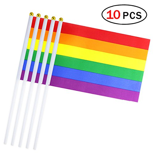 Aszune Rainbow Stick Flag 5.5 x 8.3 Inch Small Hand Held Flag of 10 PCS Mini Gay Pride LGBT Flags ()