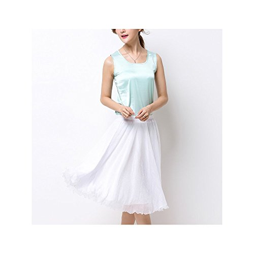 Genou Casual Basic OCHENTA Skirts Mousseline Jupe Femme de Soie Blanc En A AxwOIx