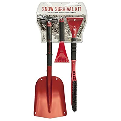 3Pc Snow Survival Kit-Includes snow brush with windshield ice scraper, mini hand car windshield snow scraper and aluminum car safety shovel, ideal winter driving accessories