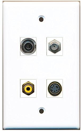 RiteAV - 1 Port RCA Yellow 1 Port Coax Cable TV- F-Type 1 Port S-Video 1 Port 3.5mm Wall Plate