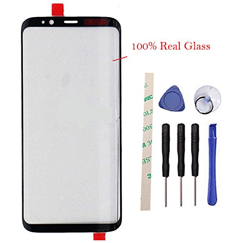 100% Glass Outer Screen Front Glass Lens Replacement for Galaxy S8 5.8 inch/S8 edge G950F G950FD G950W G9500 G950A G950P G950T G950U G950V (Not LCD and Not digitizer) with Adhesive Preinstalled