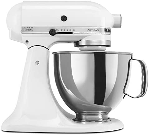 KitchenAid KSM150PSWH Artisan Series 5-Qt. Stand Mixer with Pouring Shield – White
