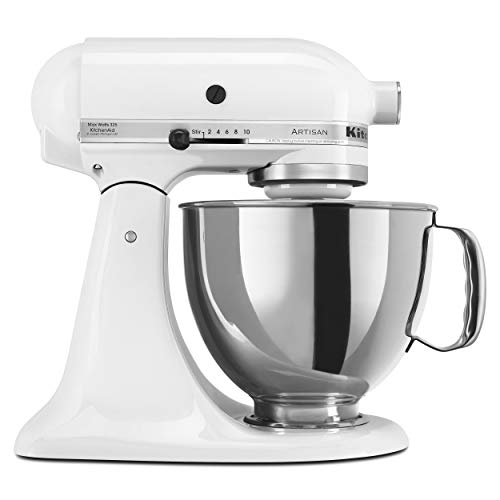 KitchenAid KSM150PSWH Artisan Series 5-Qt. Stand Mixer with Pouring Shield - White (Kitchenaid Artisan 5 Qt 10 Speed Stand Mixer)