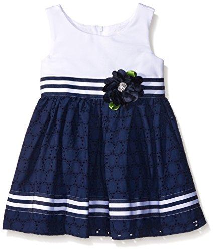 Rose Eyelet Dress - Sweet Heart Rose Little Girls Ottoman Bodice Dress With Eyelet Skirt, White/Navy, 3