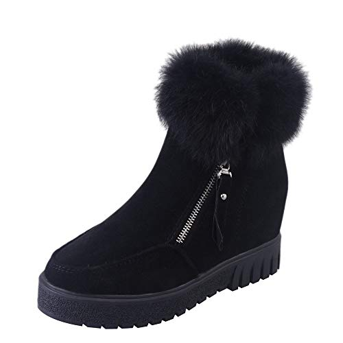 Seaintheson Womens Girls Ankle Boots, Casual Winter Side Zipper Boots Snow Boots Plus Velvet Heightening Booties Black