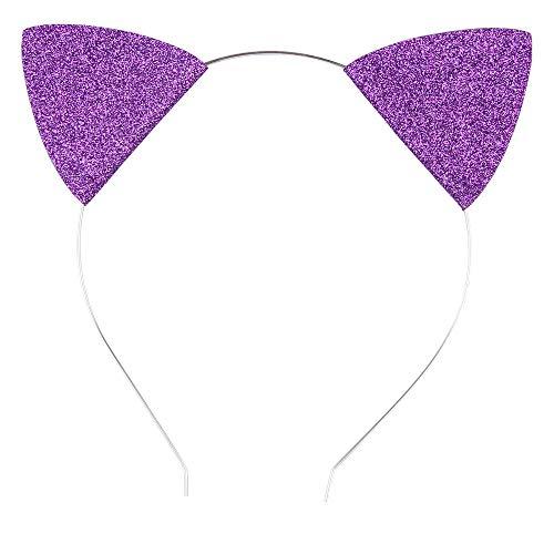 Lovely Children and Baby Glitter Kitten Ears Headband Cat Ears Children Hair Bands (Dark Purple Silver) ()