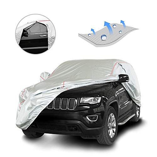 Tecoom Hard Shell Breathable Material Door Shape Zipper Design Waterproof UV-Proof Windproof Car Cover for All Weather Indoor Outdoor Fit 180-195 inches SUV