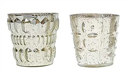 b2f7180511 Image Unavailable. Image not available for. Color: Embossed Mercury Glass  Votive Candle Holder Antique Silver ...