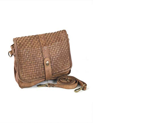 Multipoches In Sac It 25cmx18cm Bandoulier Hippie Italy Vachette Made De Tresse Cuir qzO5t1Ow