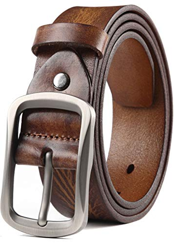 - COW STAUNCH Mens Dress Belt,Full Grain Leather Belt,Single Prong Big Buckle - for Casual Jeans,Brown (Khaki, 42-44inch)