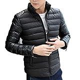 Allywit Men Fashion Stand Collar Zipper Warm Cotton Winter Thick Coat Jacket