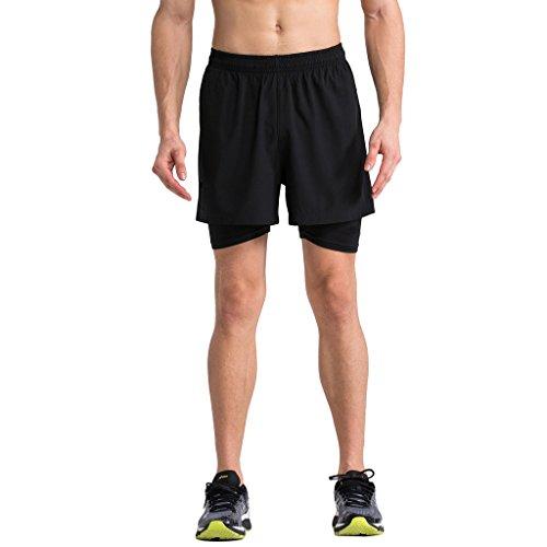 2-Fitness Men's 4 inch Training Short, 2 in 1 Shorts Black M