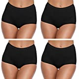 SIHOHAN Women's Knickers, Ladies Cotton Underwear Full Briefs High Waist Panties Comfortable for Everyday Use (Black- 4 Pack, XL)