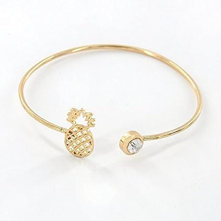 Daorier Pineapple with Rhinestones Fashion Charm Women Bracelets Simple  Stone Bracelet Party Wedding Jewelry 1Pc 66367512d9dc