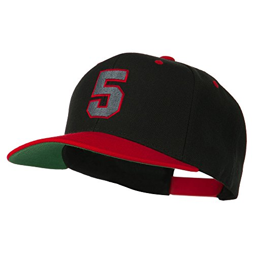 (Athletic Number 5 Embroidered Classic Two Tone Cap - Black Red OSFM)