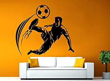 Hoopoe Decor Boy is Playing Football Wall Stickers and Wall Decals, Best Wall Arts for Home Decoration - Black