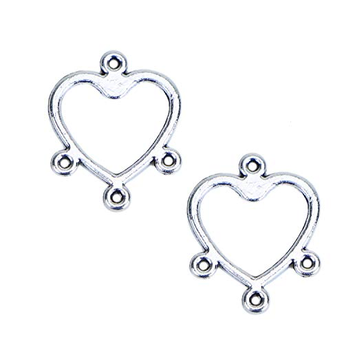 Monrocco 100PCS Earring Finding Loops Connectors Links Heart Pendants Charm for Necklace Jewelry Making