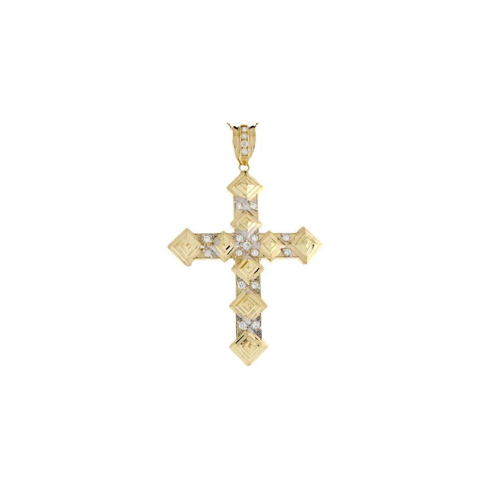 10k Two Tone Gold 7.7cm Fancy Ornate Byzantine Cross Religious CZ Pendant