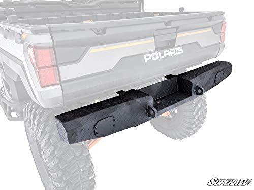 (SuperATV Heavy Duty Rear Bumper for Full Size Polaris Ranger XP 900/900 Crew (2013+) - Wrinkle Black - Winch Ready!)