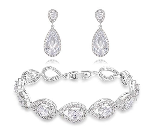 TIDOO Jewelry Fashion Womens Platinum Plated Surperise Shinning Tear Drop Bracelet Torque Earring Jewelry Sets With Austrian Crystal And Cubic Zicons 100% Man-made Trendy Elegance ,Best Gift For Mother's Day Lover Party Wedding Anniversary Engagement Valentine's Day And Christmas