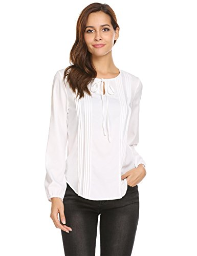 Pleated Tie Neck - Zeagoo Women's Ruffle Tie Neck Pleated Casual Tunic Tops White S
