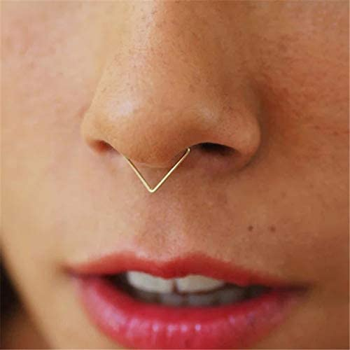 Amazon.com: Yabee Nose Ring Handmade Piercing Jewelry Triangle Surface Punk Charm Circular Tiny Septum Hoop Jewelry Grillz Fake Piercing - (Metal Color: 925 Sterling Silver)