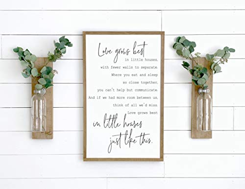 Framed Wooden Sign, Love Grows Best in Little Houses Sign, Home Decor Sign, Farmhouse Wall Decor, Family Room Sign, Wood Signs, Farmhouse Modern Sign 12