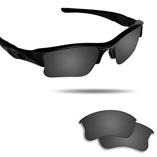 Fiskr Anti-saltwater Polarized Replacement Lenses for Stealth Black Oakley Flak Jacket XLJ - Flak Oakley Prizm Jacket Lenses Golf Xlj