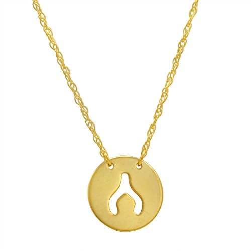 14k Yellow Gold Wishbone (Amanda Rose 14k Yellow Gold Wishbone Disc Necklace on an Adjustable 16-18 in. Chain)