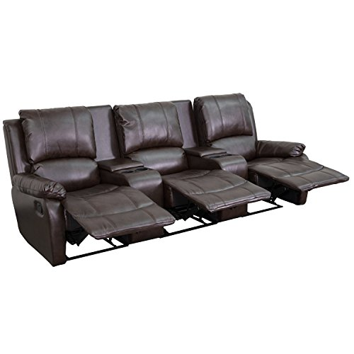 Winston Direct Cinema Series 3-Seat Reclining Pillow Back Brown Leather Theater Seating Unit with Cup Holders by Winston Direct
