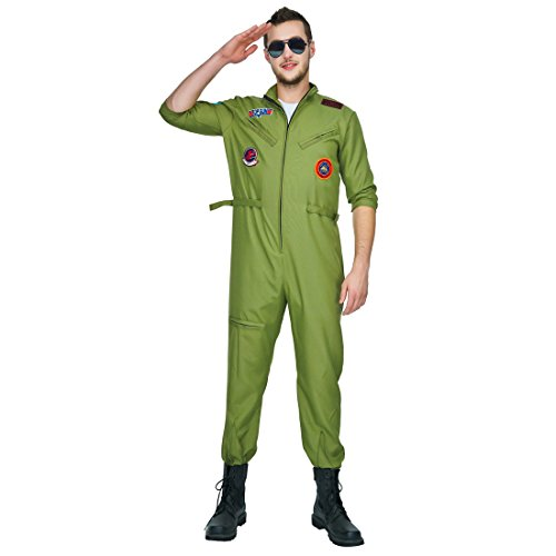 flatwhite Adult Man's Air Force Jumpsuit Costumes (Green)
