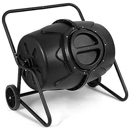 Goplus Compost Tumbler Outdoor Garden Waste Bin Grass Food Trash Fertilizer Barrel Black (43-Gallon) Superbuy