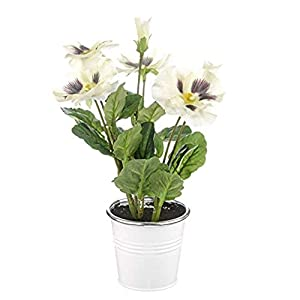 MARJON FlowersFloristryWarehouse Artificial Pansy Bunch in Tin Pot 25cm Cream 49