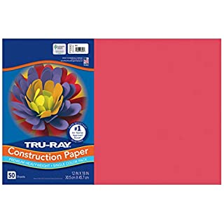 "Tru-Ray Heavyweight Construction Paper, Red,  12"" x 18"", 50 Sheets"