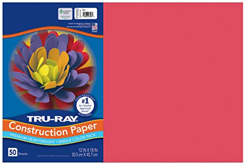 """Tru-Ray Heavyweight Construction Paper, Red, 12"""" x 18"""", 50 Sheets"""