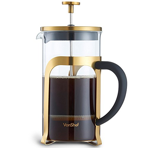 VonShef Premium Glass Heat Resistant French Press Cafetiere Coffee Maker, Stainless Steel, Gold, 1 Liter, 34 Fluid Ounces, 8 Cup