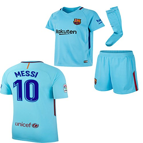 BARCA2018 Barcelona NB Messi Suarez Iniesta Neymar 2017 2018 17 18 Kid Youth Replica Home Jersey Kit : Shirt, Short, Socks, Bag (L. Messi Away Blue, Size 22 (5-6 Yrs Old Approx.)) (Shirt Home Kit)