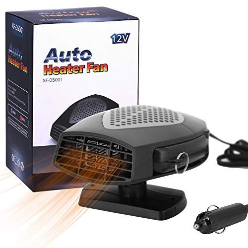 12V Portable Car Heater,Automobile Windscreen Fan, Windshield Car Heater, Cooling Car Fan, Fast Heating Defrost Defogger, Auto Ceramic Heater Fan 3-Outlet Plug in Cigarette Lighter (Black) Black Friday Deals 2019